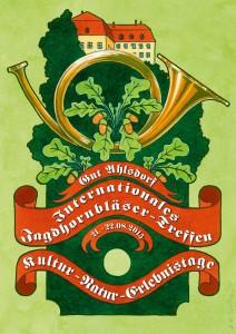 Logo für das Internationale Jagdhornbläsertreffen in Ahlsdorf, Stadt Schönewalde im Jahr 2015